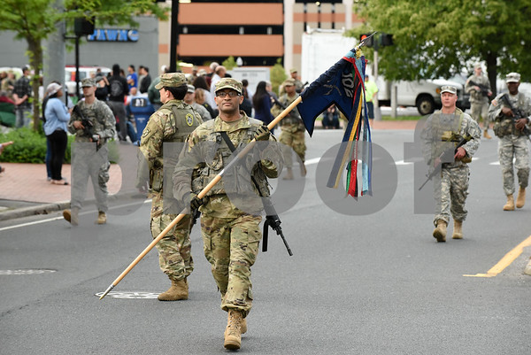 053017 Wesley Bunnell | Staff The City of New Britain held their annual Memorial Day Parade on Tuesday evening. CT National Guard 102nd Infantry Battalion.