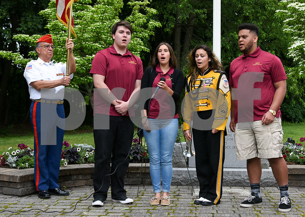 053017 Wesley Bunnell | Staff A Memorial Day Ceremony was held at the Brian S. Letendre Memorial on Tuesday afternoon by the Marine Corps League Hardware City Detachment. The New Britain High School's Madrigal Singers performing.
