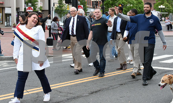 053017 Wesley Bunnell | Staff The City of New Britain held their annual Memorial Day Parade on Tuesday evening. Mayor Erin Stewart walks in the lead with other elected officials.