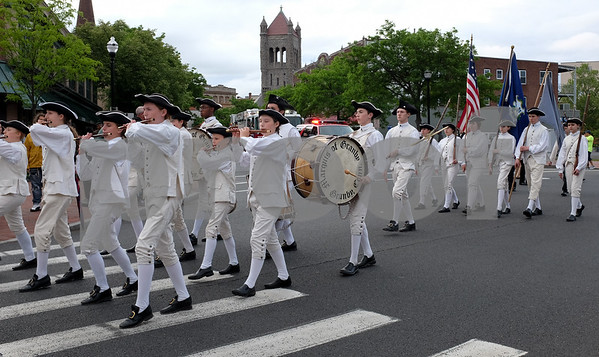 053017 Wesley Bunnell | Staff The City of New Britain held their annual Memorial Day Parade on Tuesday evening. Marquis of Granby Fife & Drum Corp at the intersection of Main & South Main St.
