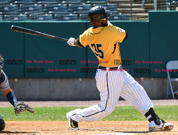 051617 Wesley Bunnell   Staff The New Britain Bees vs the Bridgeport Bluefish in the 2nd game of a double header played early afternoon on Tuesday. Jovan Rosa (35)