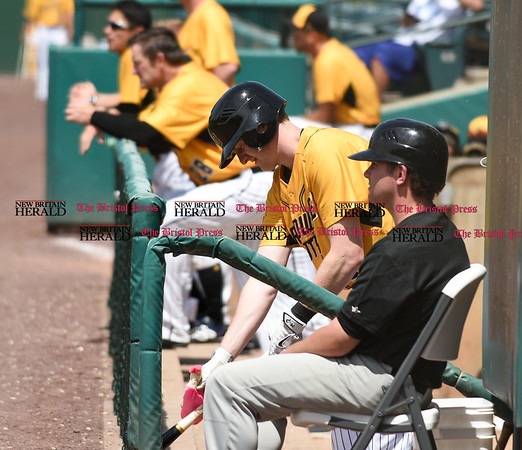 051617 Wesley Bunnell   Staff The New Britain Bees vs the Bridgeport Bluefish in the 2nd game of a double header played early afternoon on Tuesday. Jake McGuiggan (2) on the top step of the dugout.