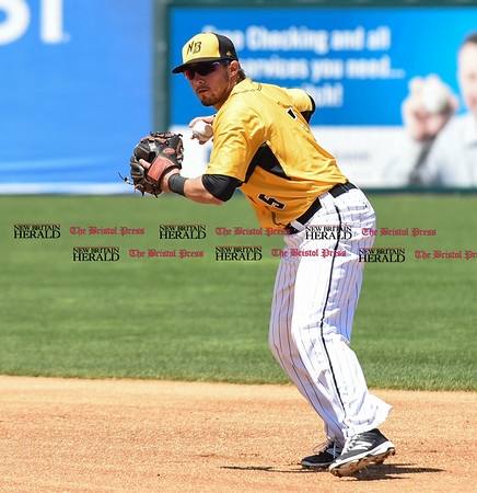 051617 Wesley Bunnell | Staff The New Britain Bees vs the Bridgeport Bluefish in the 2nd game of a double header played early afternoon on Tuesday. Michael Baca (5)