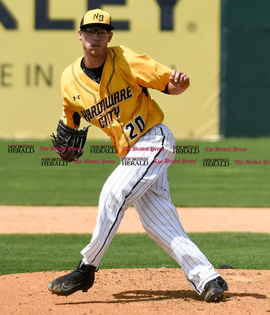 051617 Wesley Bunnell   Staff The New Britain Bees vs the Bridgeport Bluefish in the 2nd game of a double header played early afternoon on Tuesday. Brandon Fry (20) in relief.