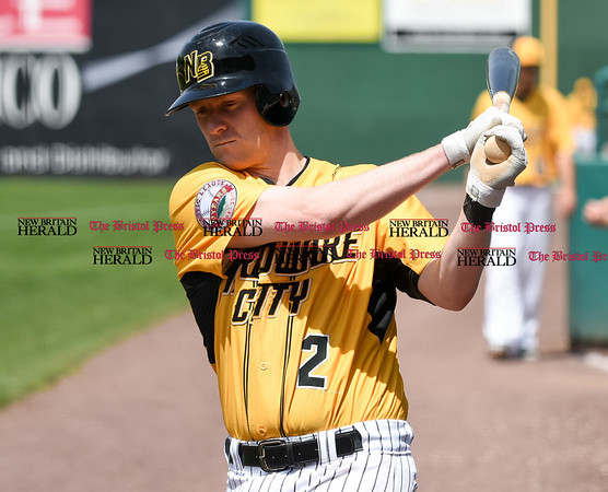051617 Wesley Bunnell | Staff The New Britain Bees vs the Bridgeport Bluefish in the 2nd game of a double header played early afternoon on Tuesday. Jake McGuiggan (2) in the on deck circle.