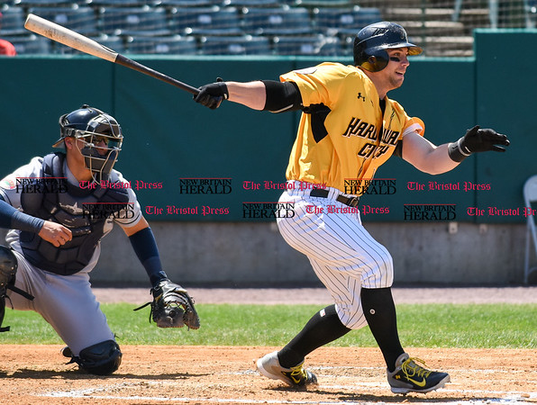 051617 Wesley Bunnell   Staff The New Britain Bees vs the Bridgeport Bluefish in the 2nd game of a double header played early afternoon on Tuesday. Craig Maddox (24)