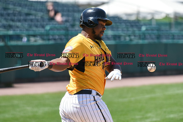 051617 Wesley Bunnell | Staff The New Britain Bees vs the Bridgeport Bluefish in the 2nd game of a double header played early afternoon on Tuesday. Jovan Rosa (35) fouls a ball off