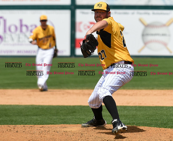 051617 Wesley Bunnell | Staff The New Britain Bees vs the Bridgeport Bluefish in the 2nd game of a double header played early afternoon on Tuesday. Jason Jarvis (27) in relief.