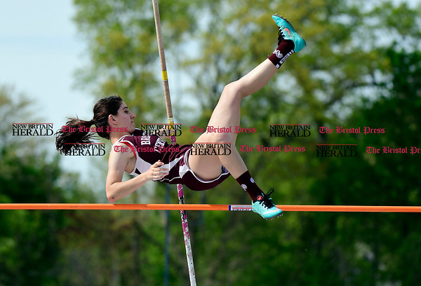 5/16/2017 Mike Orazzi | Staff Bristol Central's Joana Lalaj in the pole vault during Tuesday's track meet at Eastern.