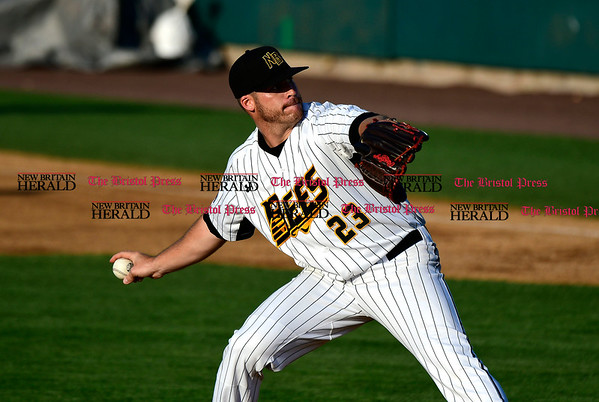 5/17/2017 Mike Orazzi | Staff New Britain Bees' Eric Fornataro (23) on the mound Wednesday night.
