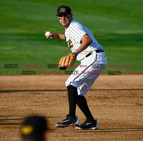 5/17/2017 Mike Orazzi | Staff New Britain Bees' Steve Carrillo (4) Wednesday night.