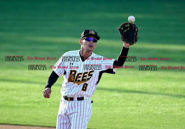 5/17/2017 Mike Orazzi | Staff New Britain Bees' Yusuke Kajimoto (8) Wednesday night.