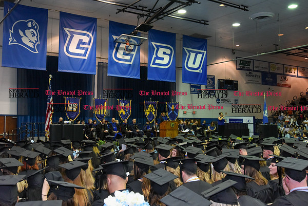 051817 Wesley Bunnell | Staff CCSU held commencement exercises on Thursday evening for graduate students at Kaiser Hall.