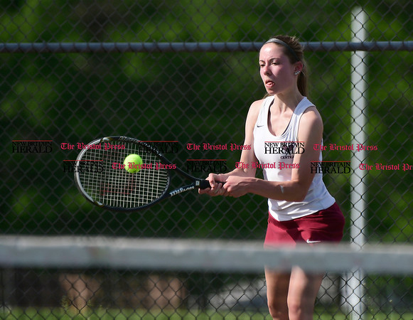 5/19/2017 Mike Orazzi | Staff Bristol Central's Abby Goralski during tennis Friday at BC.