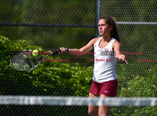 5/19/2017 Mike Orazzi | Staff Bristol Central's Taylor Soucy during tennis Friday with Eastern at BC.