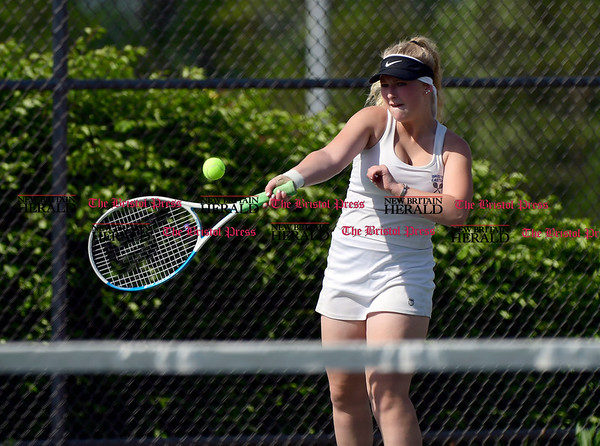 5/19/2017 Mike Orazzi | Staff Bristol Eastern's Kasey Simpson during tennis Friday at BC.