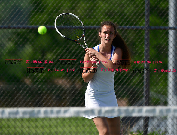 5/19/2017 Mike Orazzi | Staff Bristol Eastern's Julia O'Leary during tennis Friday at BC.