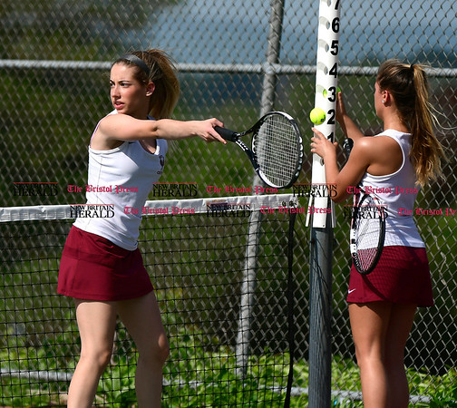 5/19/2017 Mike Orazzi | Staff Bristol Central's Alex Goralski and Taylor Soucy during tennis Friday with Eastern at BC.