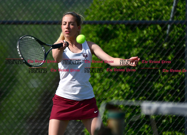 5/19/2017 Mike Orazzi | Staff Bristol Central's Alex Goralski during tennis Friday with Eastern at BC.