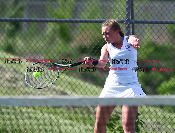 5/19/2017 Mike Orazzi | Staff Bristol Eastern's Federica Castaldi during tennis Friday at BC.