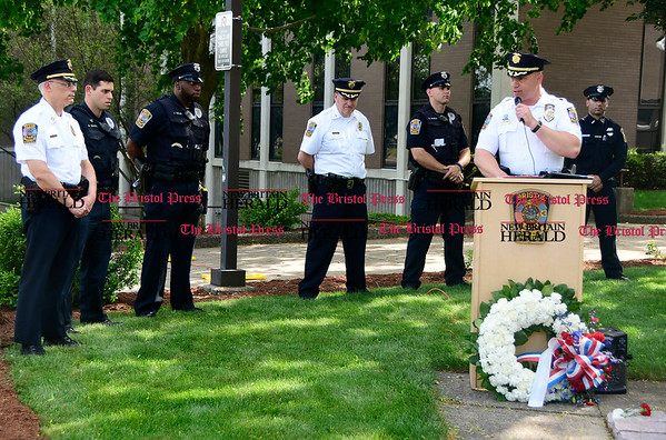5/19/2017 Mike Orazzi | Staff Bristol Police Chief Brian Gould at a ceremony to honor three Bristol officers who made the ultimate sacrifice on North Main Street Friday.
