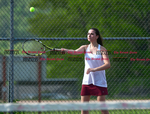 5/19/2017 Mike Orazzi | Staff Bristol Central's Emily McAllister during tennis Friday with Eastern at BC.