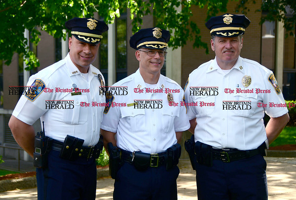 5/19/2017 Mike Orazzi | Staff Bristol Police Chief Brian Gould, Captain Thomas Calvello and Captain Edward Spyros at ceremony to honor three Bristol officers who made the ultimate sacrifice.