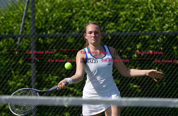 5/19/2017 Mike Orazzi | Staff Bristol Eastern's Gabi Reymont during tennis Friday at BC.