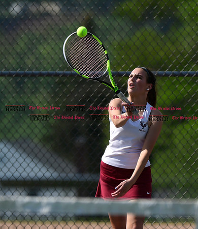 5/19/2017 Mike Orazzi | Staff Bristol Central's Abby Gorneault during tennis Friday with Eastern at BC.