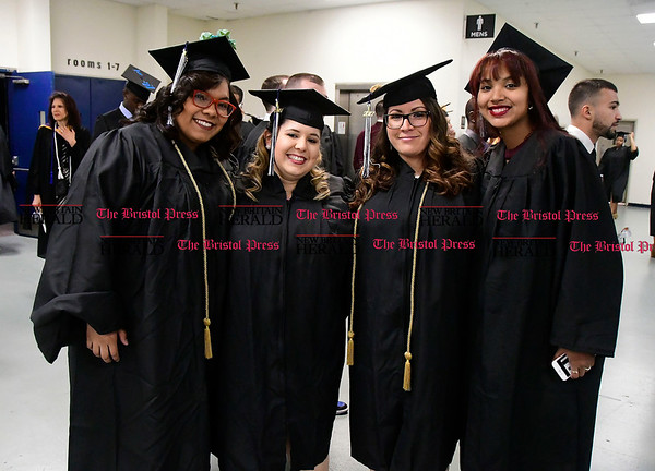 5/20/2017 Mike Orazzi | Staff Chelsey Alicea, Amanda Ryder, Alyssa Pace and Geandhrelly De La Paz at the XL Center in Hartford for CCSU's graduation Saturday morning.