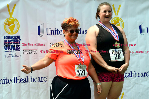 5/20/2017 Mike Orazzi   Staff Lisa Mikkola and Lori Canaday after competing in Saturday's Connecticut Masters' Games at Willow Brook Park in New Britain.
