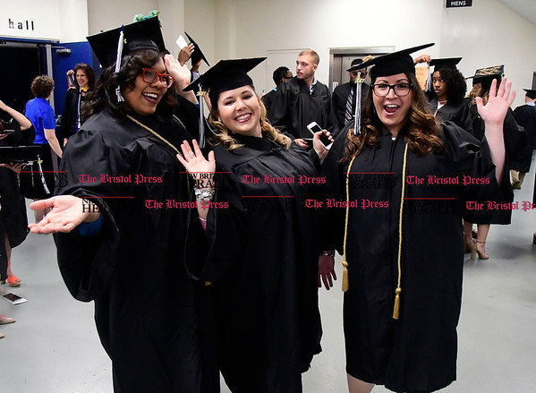 5/20/2017 Mike Orazzi | Staff Chelsey Alicea, Amanda Ryder and Alyssa Pace at the XL Center in Hartford for CCSU's graduation Saturday morning.