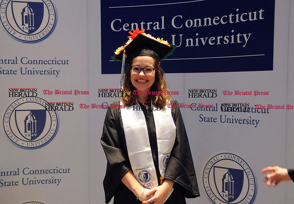 5/20/2017 Mike Orazzi | Staff Brittney Mills at the the XL Center in Hartford for CCSU's graduation Saturday morning.