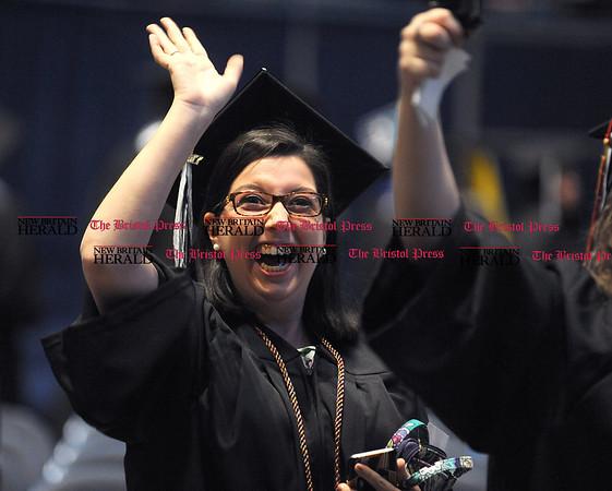 5/20/2017 Mike Orazzi   Staff Lauren McLaughlin at the XL Center in Hartford for CCSU's graduation Saturday morning.