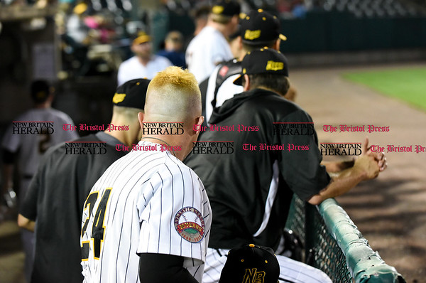 051817 Wesley Bunnell | Staff New Britain Bees vs the Bridgeport Bluefish on Thursday evening. Craig Maddox (24) with blonde hair.