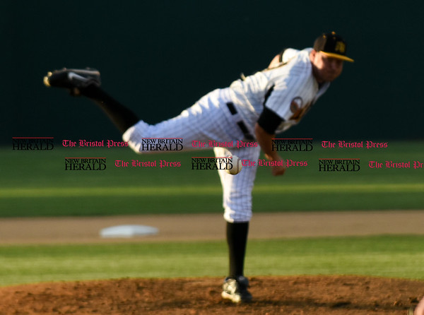 050217 Wesley Bunnell | Staff The New Britain Bees vs Somerset Patriots on Tuesday evening. Baseball in focus after being pitched by Jason Jarvis (27).
