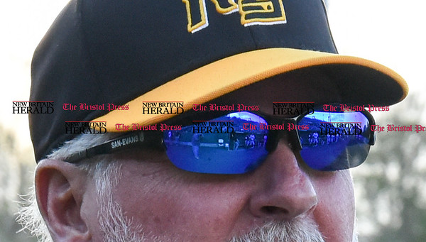 050217 Wesley Bunnell | Staff The New Britain Bees vs Somerset Patriots on Tuesday evening. Bees dugout reflected in Stan Cliburn's sunglasses.