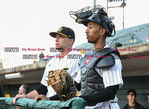050217 Wesley Bunnell | Staff The New Britain Bees vs Somerset Patriots on Tuesday evening. Craig Maddox (24) and James Skelton (3) just prior to the start of the game.
