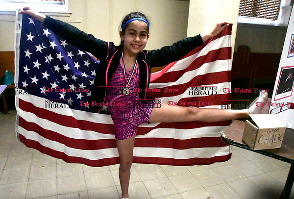 5/2/2017 Mike Orazzi | Staff St. Joseph School 5th grade student Arianna Estrella as Gabrielle Douglas during the school's annual wax museum Tuesday afternoon.