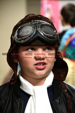 5/2/2017 Mike Orazzi   Staff St. Joseph School 5th grade student Brianna Wood as Amelia Earhart during the school's annual wax museum Tuesday afternoon.