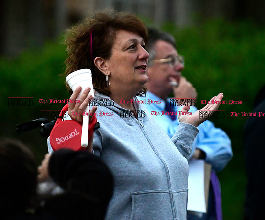 5/2/2017 Mike Orazzi | Staff Ginny Owens sings during a vigil held for a young boy who was killed Sunday in an accident while his father was moving a vehicle in the family's driveway.
