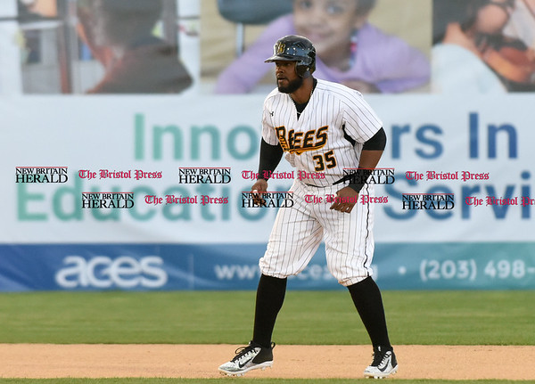 050217 Wesley Bunnell | Staff The New Britain Bees vs Somerset Patriots on Tuesday evening. Jovan Rosa (35) on second base after a double.