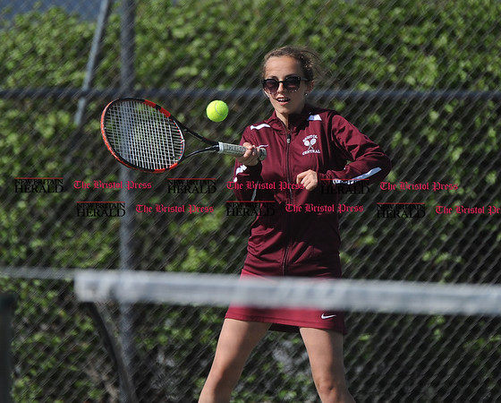 5/2/2017 5/2/2017 Mike Orazzi | Staff Bristol Central's Emily Dube in a doubles match Tuesday with Platt.