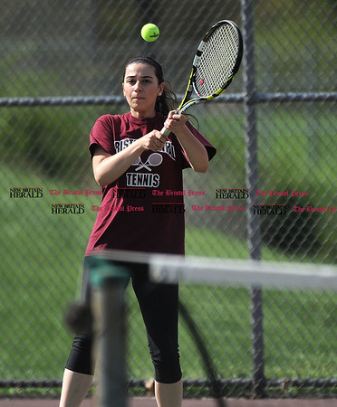 5/2/2017 5/2/2017 Mike Orazzi | Staff Bristol Central's Emily McAllister during Tuesday's match with Platt.