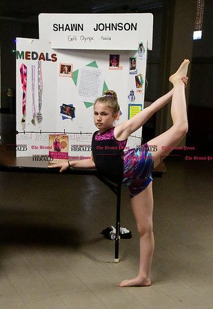 5/2/2017 Mike Orazzi   Staff St. Joseph School 5th grade student Anna Kronen as Shawn Johnson during the school's annual wax museum Tuesday afternoon.