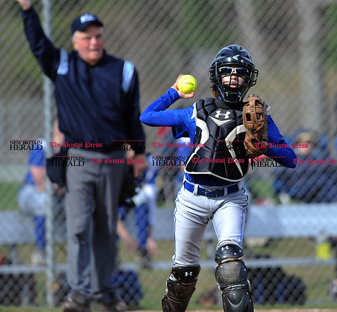 4/13/2017 Mike Orazzi | Staff Bristol Eastern's Paige McLaughlin (2) during Thursday's softball with Northwest Catholic in Bristol.