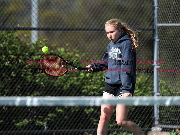 5/2/2017 5/2/2017 Mike Orazzi | Staff Bristol Central's Amanda Warner in a doubles match Tuesday with Platt.