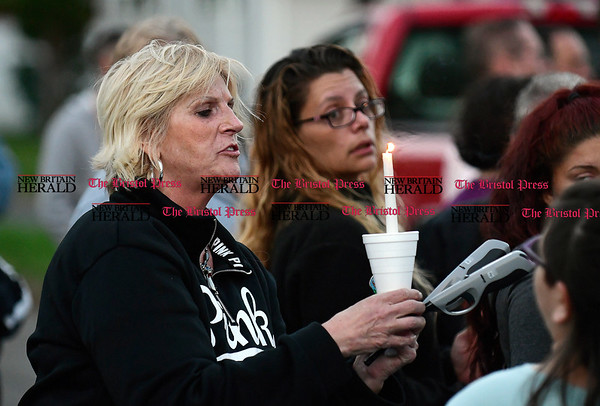 5/2/2017 Mike Orazzi | Staff Robin Reid during a vigil held for a young boy who was killed Sunday in an accident while his father was moving a vehicle in the family's driveway.
