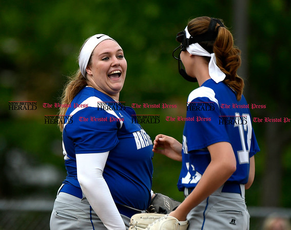 5/23/2017 Mike Orazzi | Staff Bristol Easterns Mikayla Martin (18) and Erin Girard (13) Tuesday at Eastern.