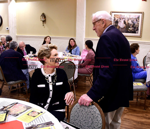 5/23/2017 Mike Orazzi | Staff Bristol Superintendent of School Ellen Solek talks with Bill Stortz, a co-recipient of the Anthony Acampora Award, during the mentor & school business community partnership program's annual recognition luncheon held at Nuchie's Tuesday in Bristol.